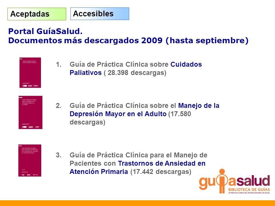 Portal GuíaSalud. Documentos más descargados 2009 (hasta septiembre) 1.Guía de Práctica Clínica sobre Cuidados Paliativos ( 28.398 descargas) 2.Guía d