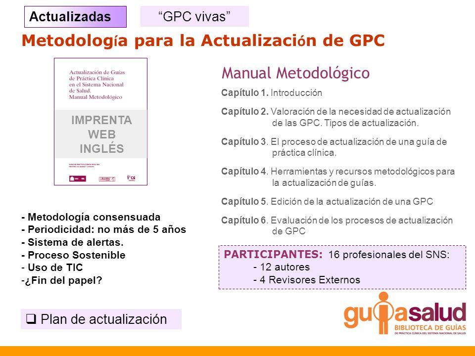Metodolog í a para la Actualizaci ó n de GPC Capítulo 1. Introducción Capítulo 2. Valoración de la necesidad de actualización de las GPC. Tipos de act
