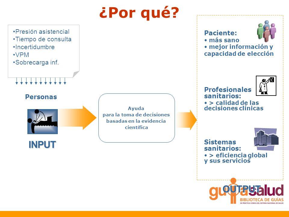 ¿Por qué? INPUT Personas Presión asistencial Tiempo de consulta Incertidumbre VPM Sobrecarga inf. OUTPUT Ayuda para la toma de decisiones basadas en l