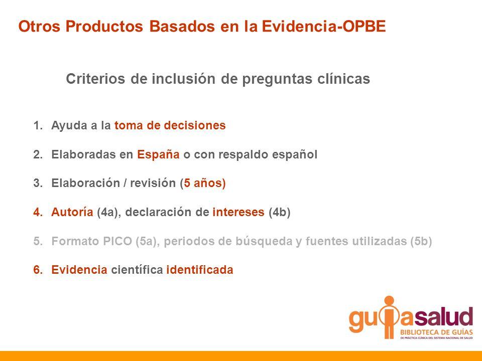 1.Ayuda a la toma de decisiones 2.Elaboradas en España o con respaldo español 3.Elaboración / revisión (5 años) 4.Autoría (4a), declaración de interes