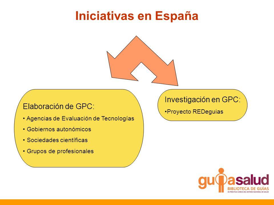 Iniciativas en España Elaboración de GPC: Agencias de Evaluación de Tecnologías Gobiernos autonómicos Sociedades científicas Grupos de profesionales I