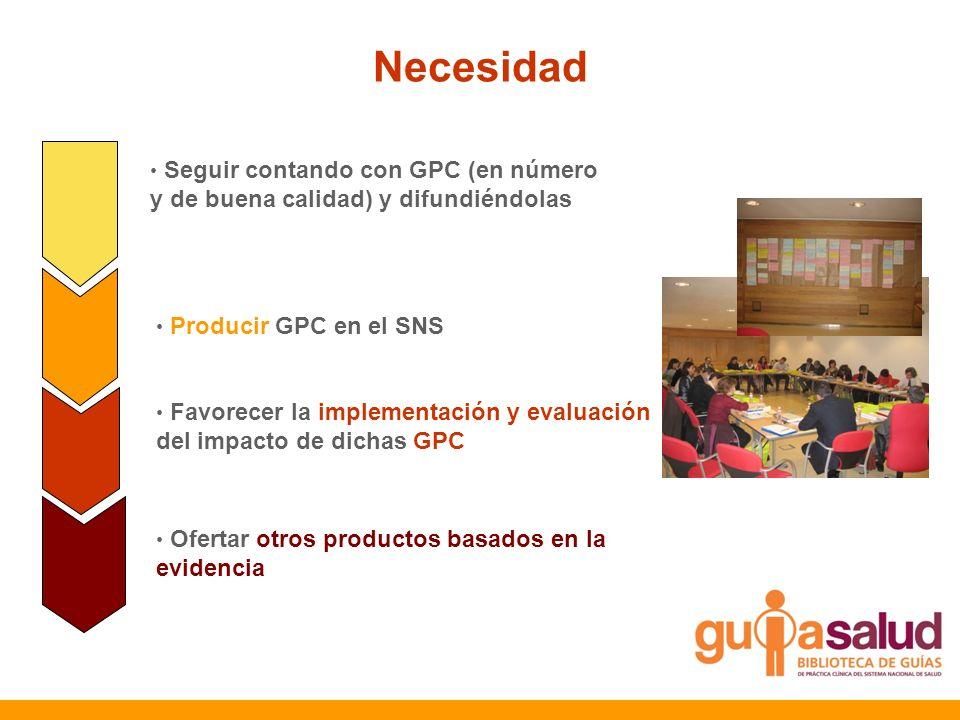 Necesidad Seguir contando con GPC (en número y de buena calidad) y difundiéndolas Producir GPC en el SNS Favorecer la implementación y evaluación del