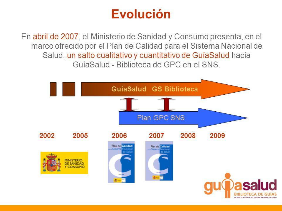 GuíaSalud GS Biblioteca Plan GPC SNS 2002 2005 2006 2007 2008 2009 Evolución En abril de 2007, el Ministerio de Sanidad y Consumo presenta, en el marc