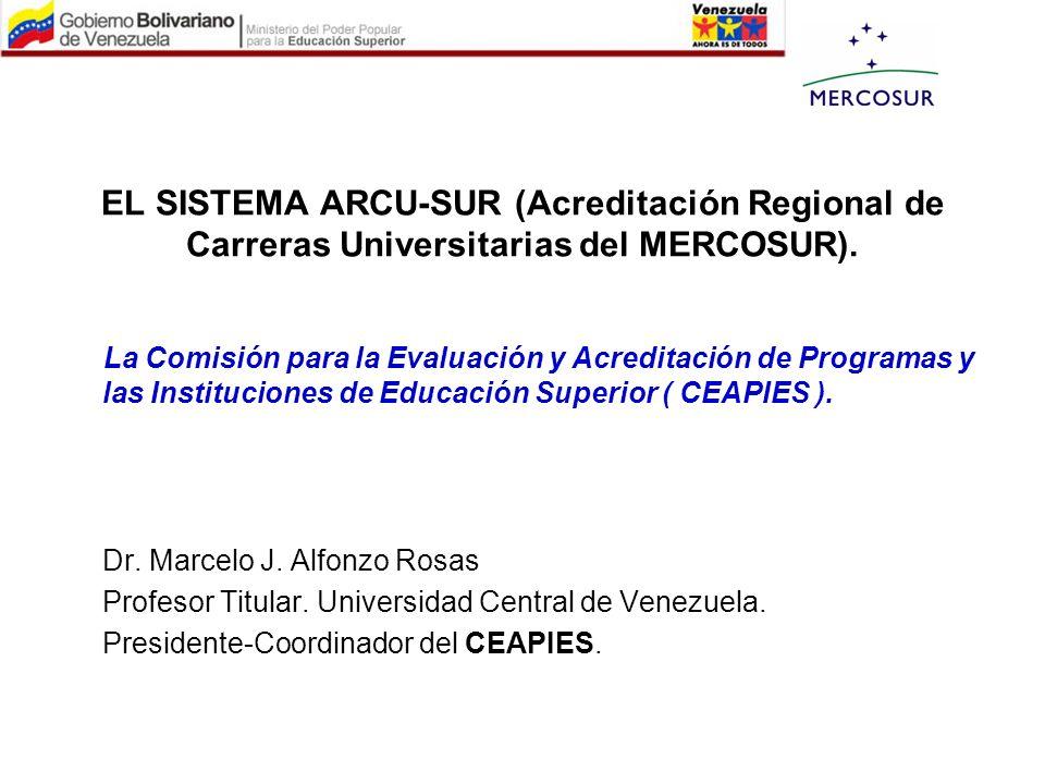 EL SISTEMA ARCU-SUR (Acreditación Regional de Carreras Universitarias del MERCOSUR). La Comisión para la Evaluación y Acreditación de Programas y las