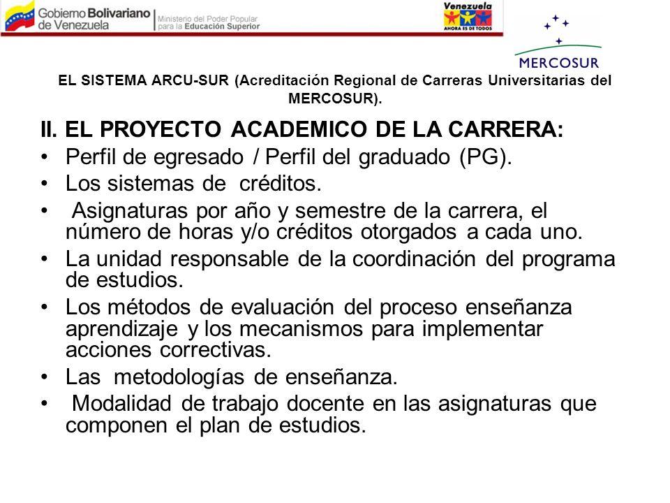 EL SISTEMA ARCU-SUR (Acreditación Regional de Carreras Universitarias del MERCOSUR). II. EL PROYECTO ACADEMICO DE LA CARRERA: Perfil de egresado / Per