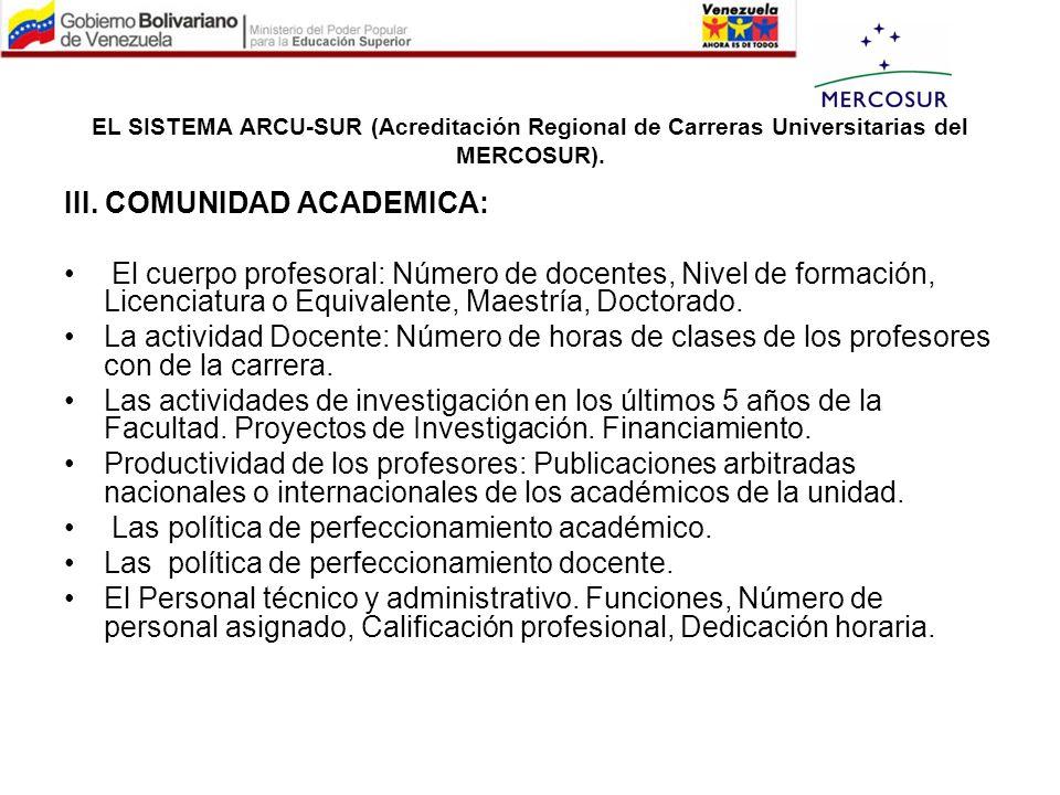III. COMUNIDAD ACADEMICA: El cuerpo profesoral: Número de docentes, Nivel de formación, Licenciatura o Equivalente, Maestría, Doctorado. La actividad