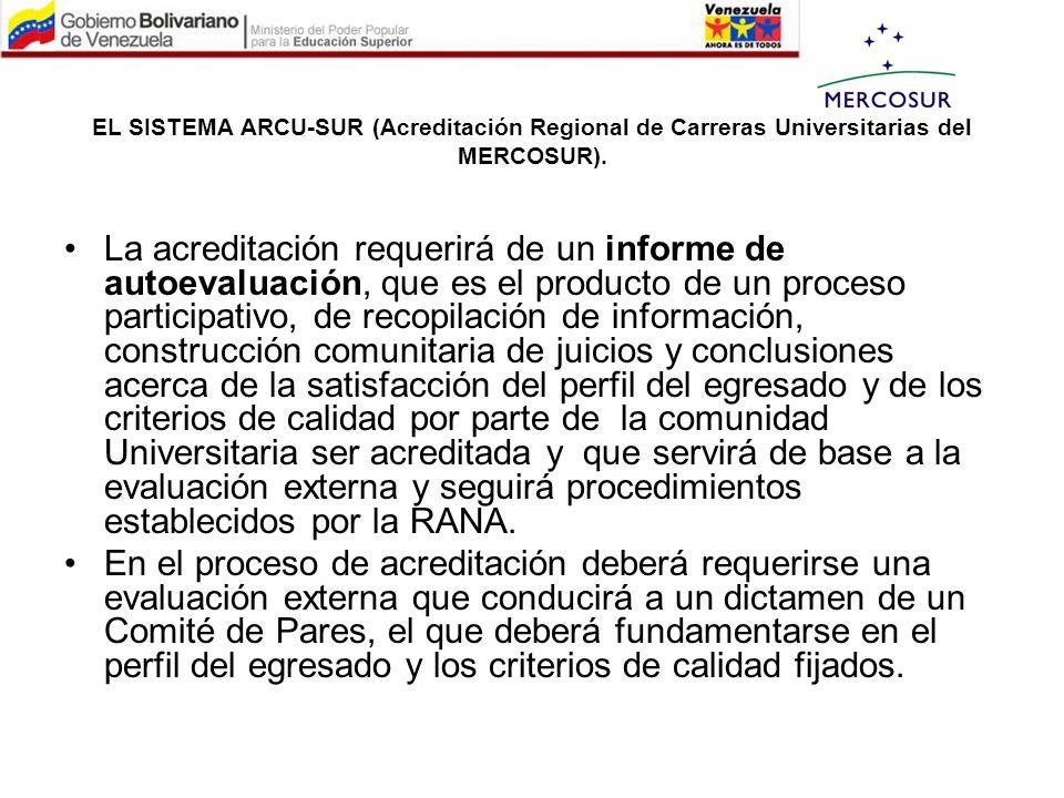 EL SISTEMA ARCU-SUR (Acreditación Regional de Carreras Universitarias del MERCOSUR). La acreditación requerirá de un informe de autoevaluación, que es
