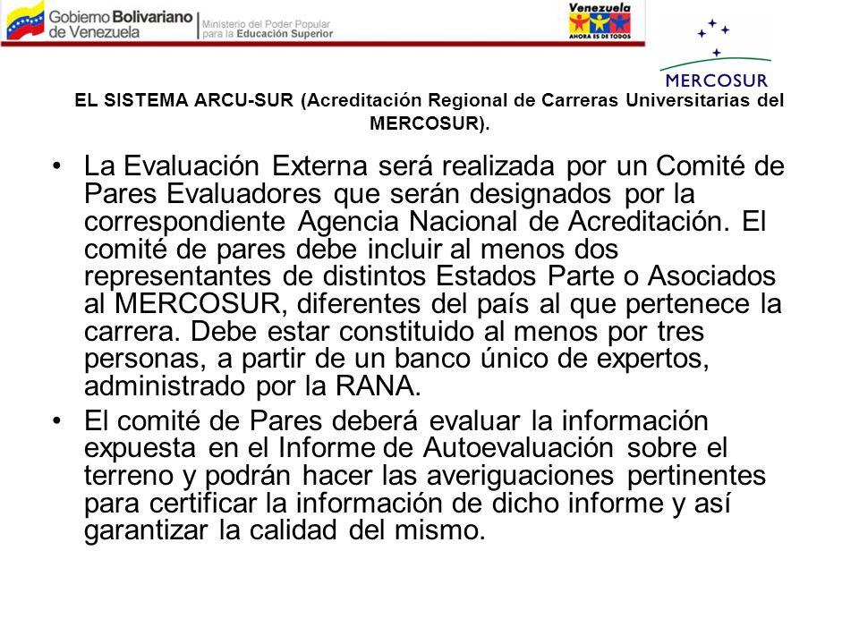 EL SISTEMA ARCU-SUR (Acreditación Regional de Carreras Universitarias del MERCOSUR). La Evaluación Externa será realizada por un Comité de Pares Evalu
