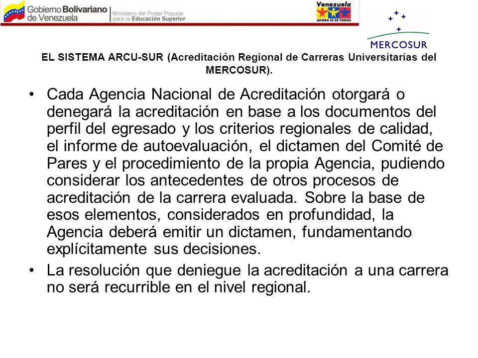 EL SISTEMA ARCU-SUR (Acreditación Regional de Carreras Universitarias del MERCOSUR). Cada Agencia Nacional de Acreditación otorgará o denegará la acre