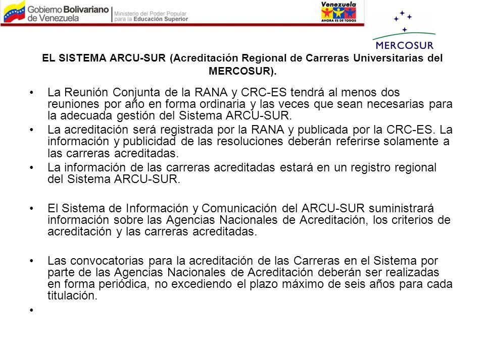 EL SISTEMA ARCU-SUR (Acreditación Regional de Carreras Universitarias del MERCOSUR). La Reunión Conjunta de la RANA y CRC-ES tendrá al menos dos reuni