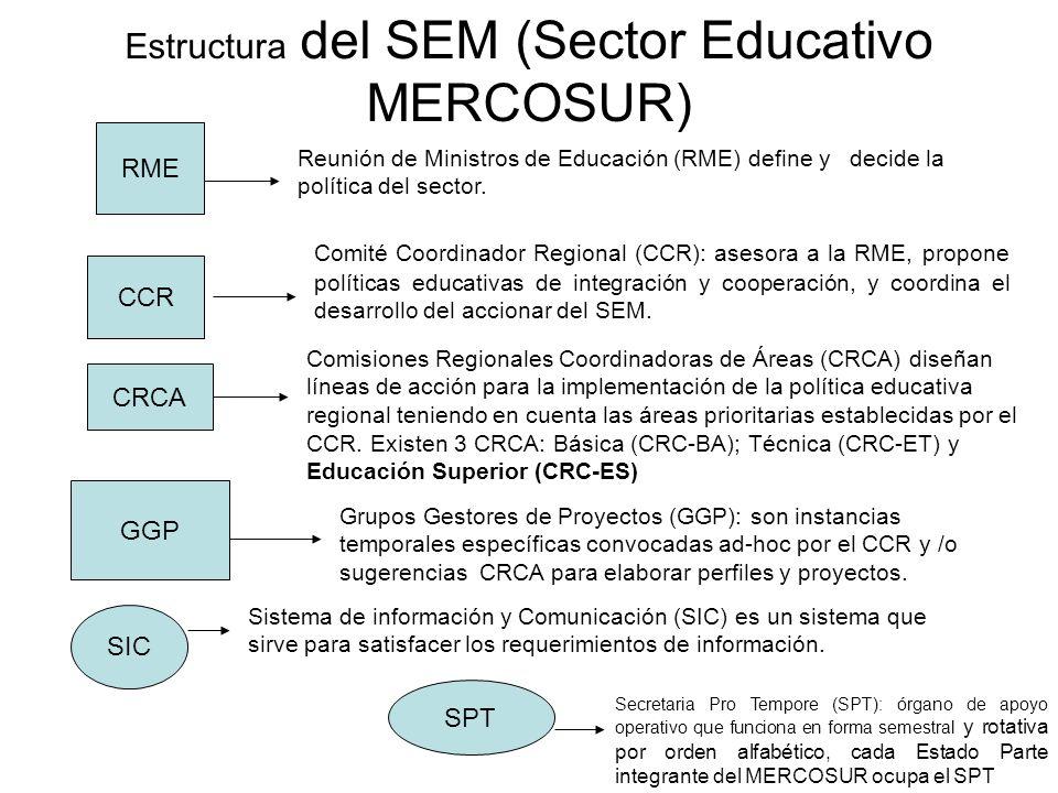 Estructura del SEM (Sector Educativo MERCOSUR) CCR Reunión de Ministros de Educación (RME) define y decide la política del sector. RME Comité Coordina