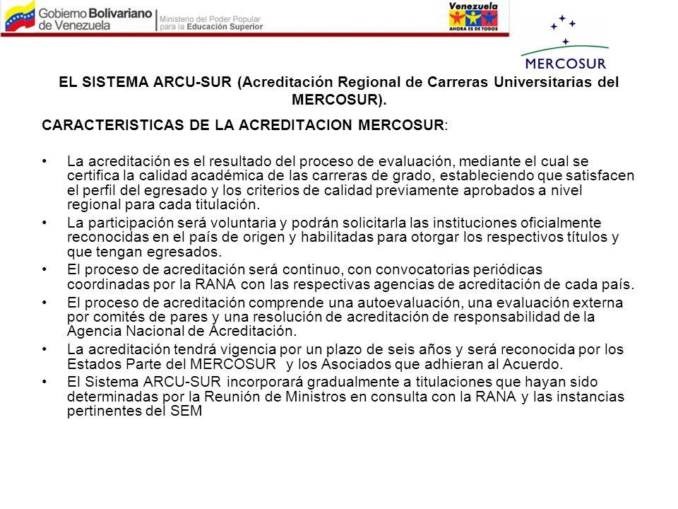 EL SISTEMA ARCU-SUR (Acreditación Regional de Carreras Universitarias del MERCOSUR). CARACTERISTICAS DE LA ACREDITACION MERCOSUR: La acreditación es e