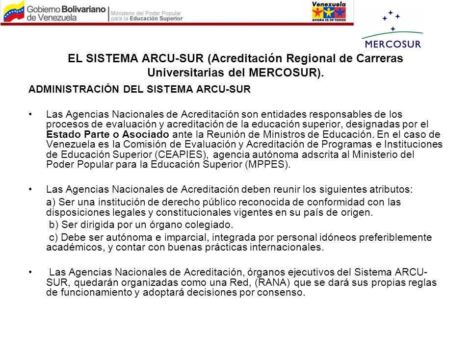 EL SISTEMA ARCU-SUR (Acreditación Regional de Carreras Universitarias del MERCOSUR). ADMINISTRACIÓN DEL SISTEMA ARCU-SUR Las Agencias Nacionales de Ac