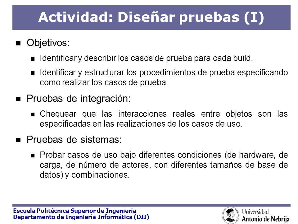 Escuela Politécnica Superior de Ingeniería Departamento de Ingeniería Informática (DII) Actividad: Diseñar pruebas (I) Objetivos: Identificar y descri