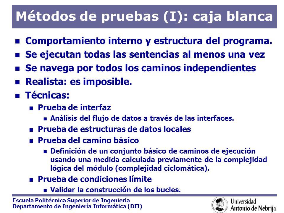 Escuela Politécnica Superior de Ingeniería Departamento de Ingeniería Informática (DII) Métodos de pruebas (y II): caja negra Considera el SW como una caja negra sin tener en cuenta los detalles.