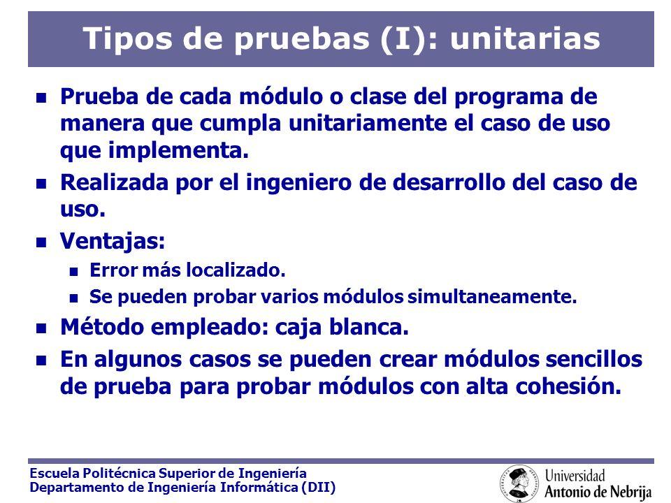 Escuela Politécnica Superior de Ingeniería Departamento de Ingeniería Informática (DII) Tipos de pruebas (I): unitarias Prueba de cada módulo o clase