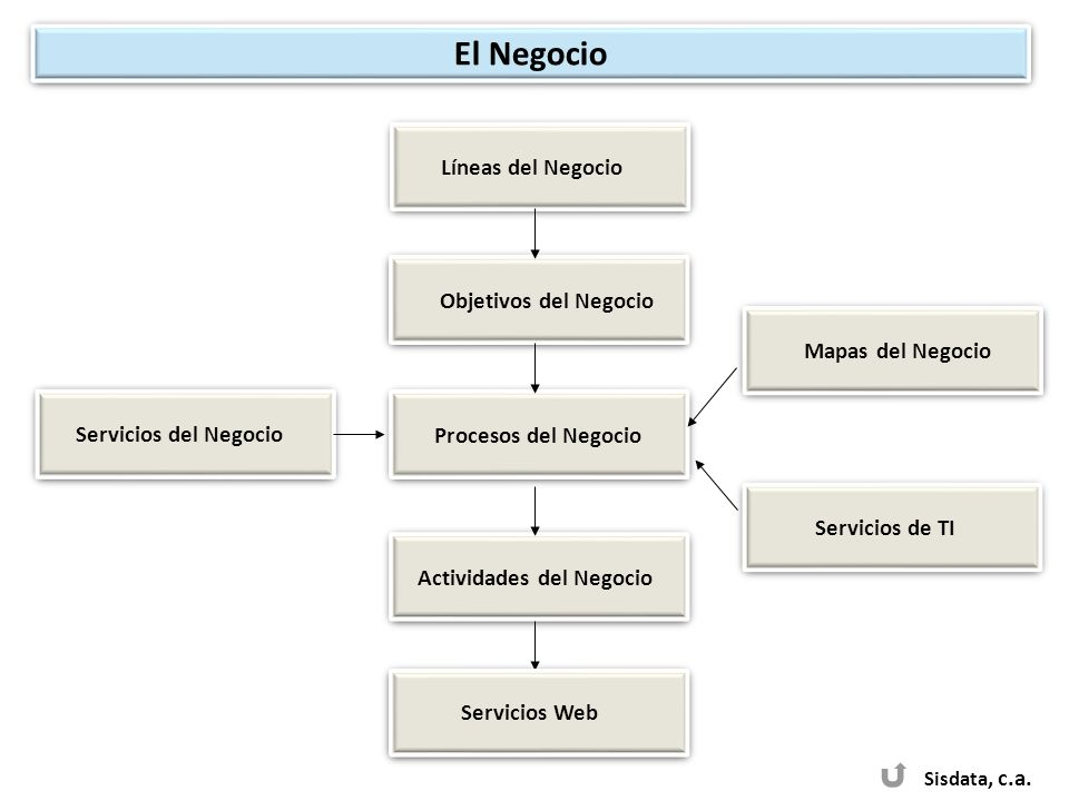 Sisdata, c.a. Líneas del Negocio Objetivos del Negocio Procesos del Negocio Mapas del Negocio Actividades del Negocio Servicios del Negocio Servicios