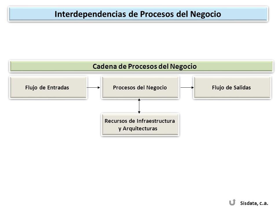 Sisdata, c.a. Procesos del Negocio Recursos de Infraestructura y Arquitecturas Recursos de Infraestructura y Arquitecturas Flujo de Entradas Flujo de