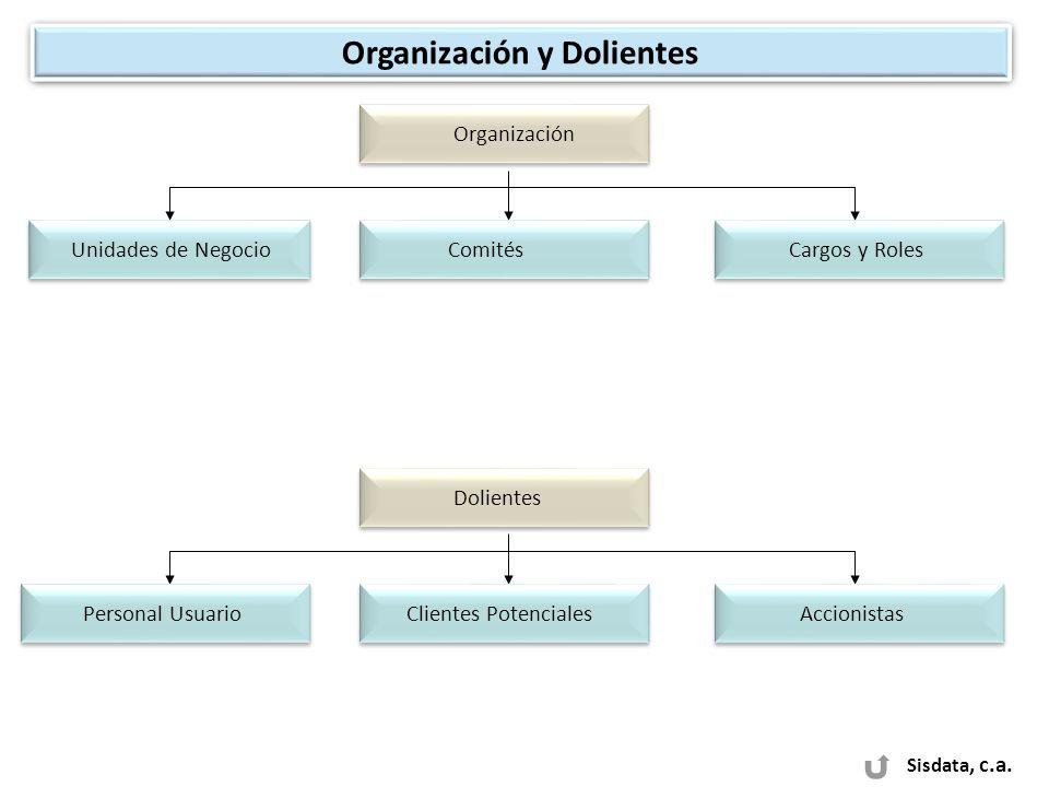 Sisdata, c.a. Organización y Dolientes Organización Unidades de Negocio Cargos y Roles Comités Dolientes Accionistas Clientes Potenciales Personal Usu