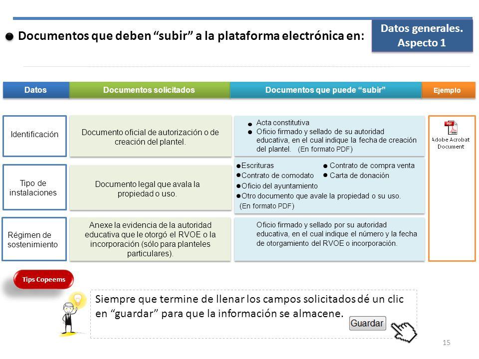 Documento oficial de autorización o de creación del plantel. Documentos que deben subir a la plataforma electrónica en: Anexe la evidencia de la autor