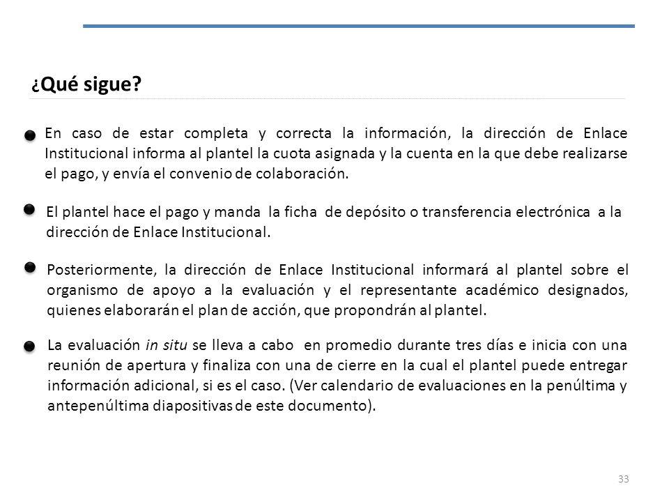 ¿ Qué sigue? En caso de estar completa y correcta la información, la dirección de Enlace Institucional informa al plantel la cuota asignada y la cuent