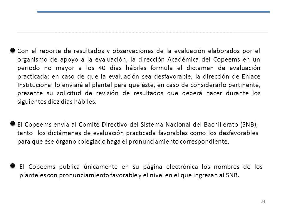 Con el reporte de resultados y observaciones de la evaluación elaborados por el organismo de apoyo a la evaluación, la dirección Académica del Copeems