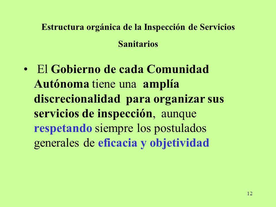 12 Estructura orgánica de la Inspección de Servicios Sanitarios El Gobierno de cada Comunidad Autónoma tiene una amplía discrecionalidad para organiza