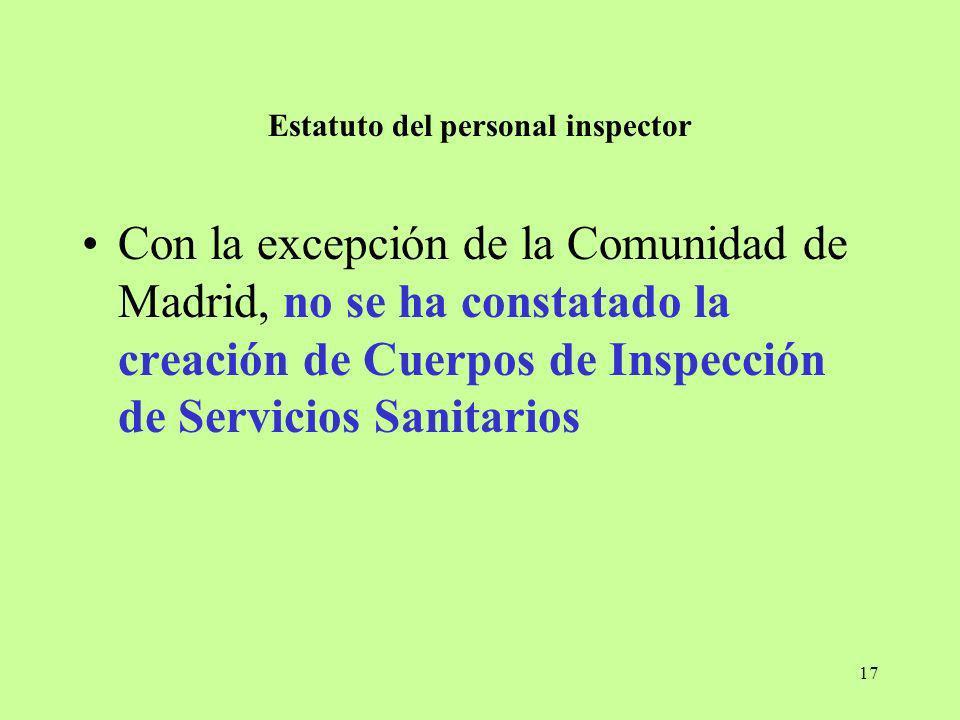 17 Estatuto del personal inspector Con la excepción de la Comunidad de Madrid, no se ha constatado la creación de Cuerpos de Inspección de Servicios S
