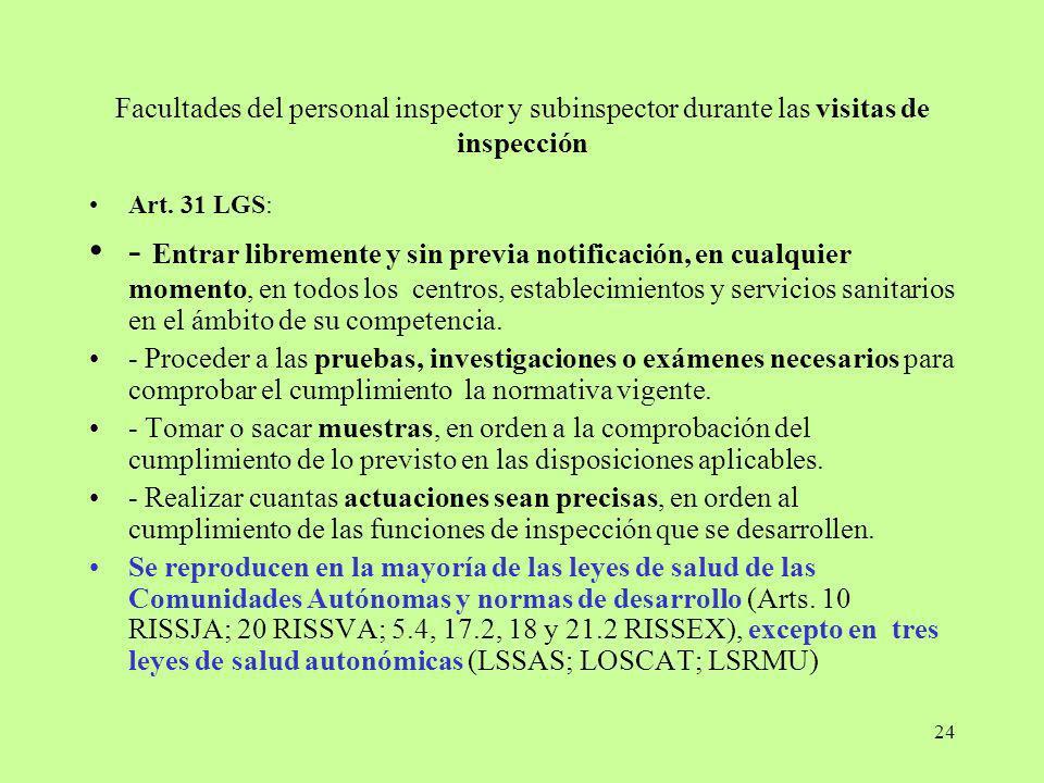 24 Facultades del personal inspector y subinspector durante las visitas de inspección Art. 31 LGS: - Entrar libremente y sin previa notificación, en c