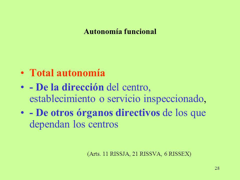 28 Autonomía funcional Total autonomía - De la dirección del centro, establecimiento o servicio inspeccionado, - De otros órganos directivos de los qu