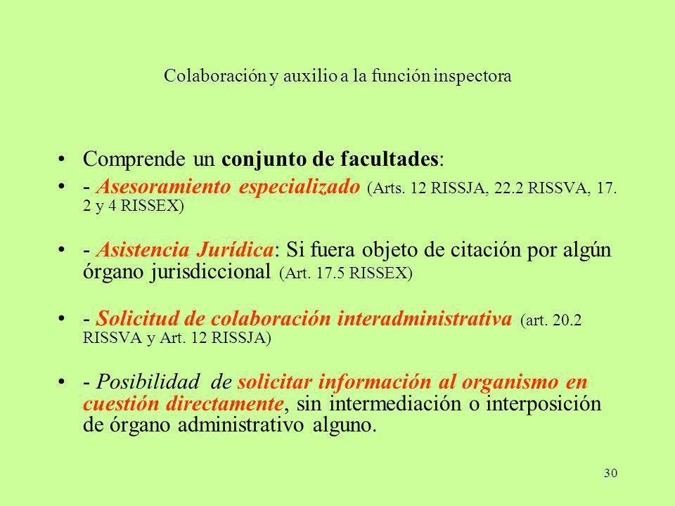 30 Colaboración y auxilio a la función inspectora Comprende un conjunto de facultades: - Asesoramiento especializado (Arts. 12 RISSJA, 22.2 RISSVA, 17