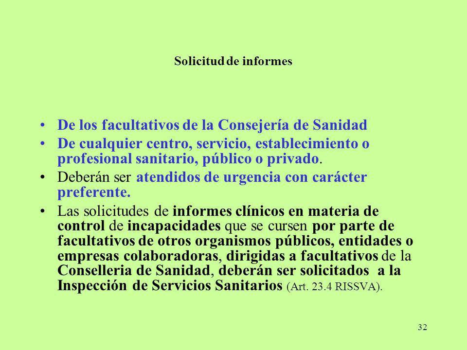 32 Solicitud de informes De los facultativos de la Consejería de Sanidad De cualquier centro, servicio, establecimiento o profesional sanitario, públi