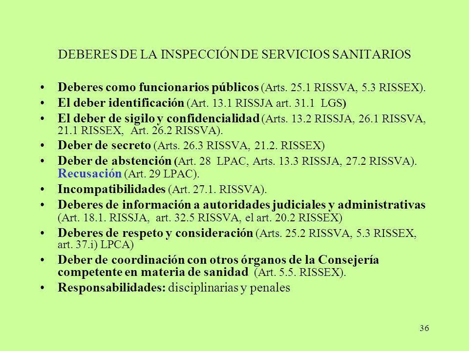 36 DEBERES DE LA INSPECCIÓN DE SERVICIOS SANITARIOS Deberes como funcionarios públicos (Arts. 25.1 RISSVA, 5.3 RISSEX). El deber identificación (Art.