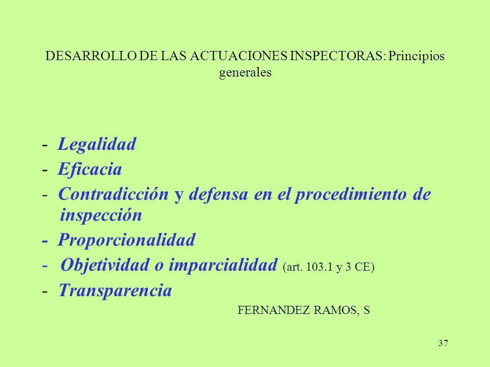 37 DESARROLLO DE LAS ACTUACIONES INSPECTORAS: Principios generales - Legalidad - Eficacia - Contradicción y defensa en el procedimiento de inspección