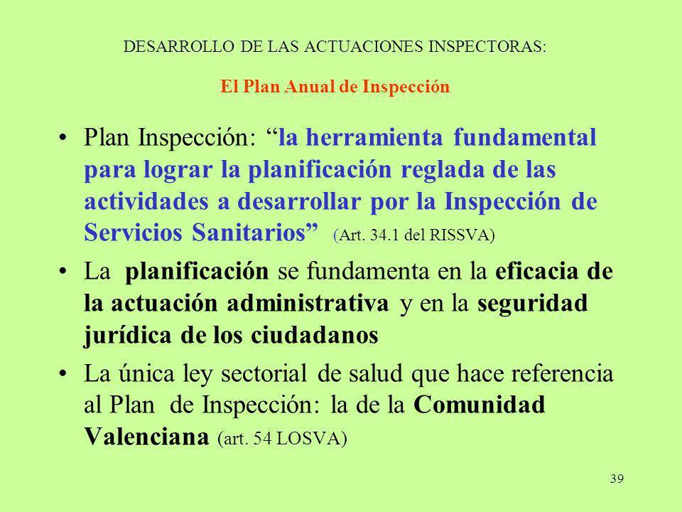 39 DESARROLLO DE LAS ACTUACIONES INSPECTORAS: El Plan Anual de Inspección Plan Inspección: la herramienta fundamental para lograr la planificación reg