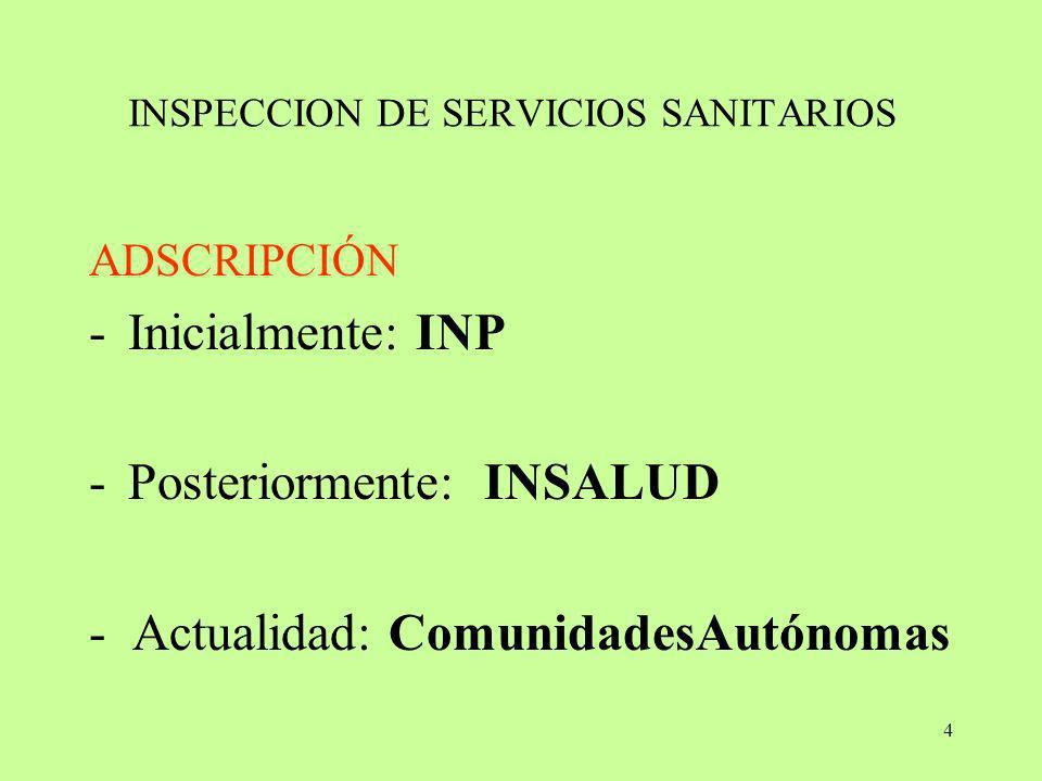 4 INSPECCION DE SERVICIOS SANITARIOS ADSCRIPCIÓN -Inicialmente: INP -Posteriormente: INSALUD - Actualidad: ComunidadesAutónomas