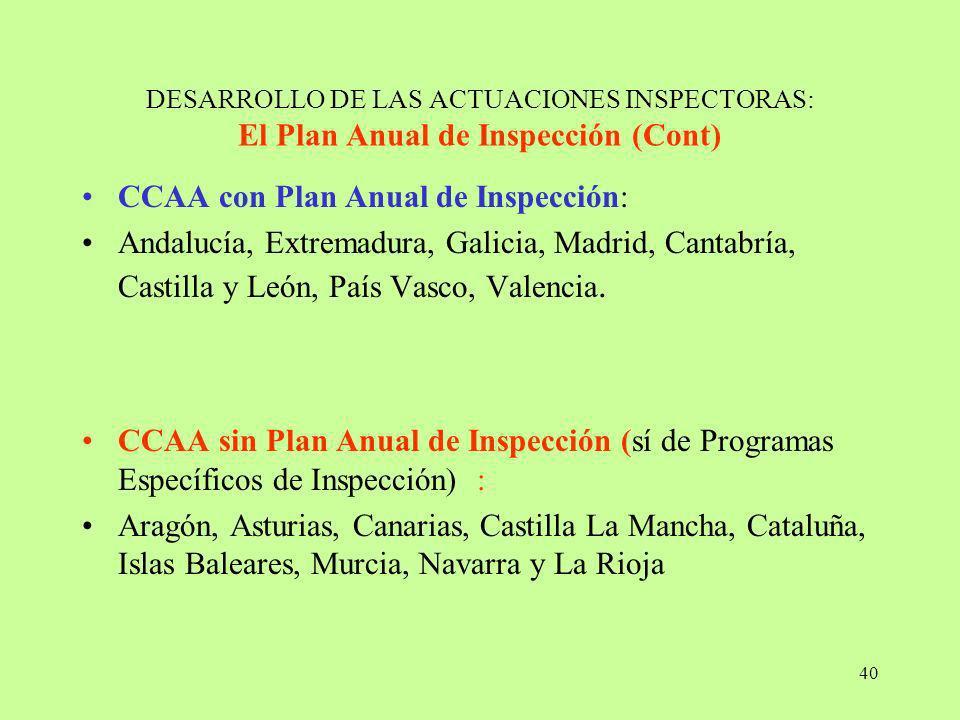 40 DESARROLLO DE LAS ACTUACIONES INSPECTORAS: El Plan Anual de Inspección (Cont) CCAA con Plan Anual de Inspección: Andalucía, Extremadura, Galicia, M