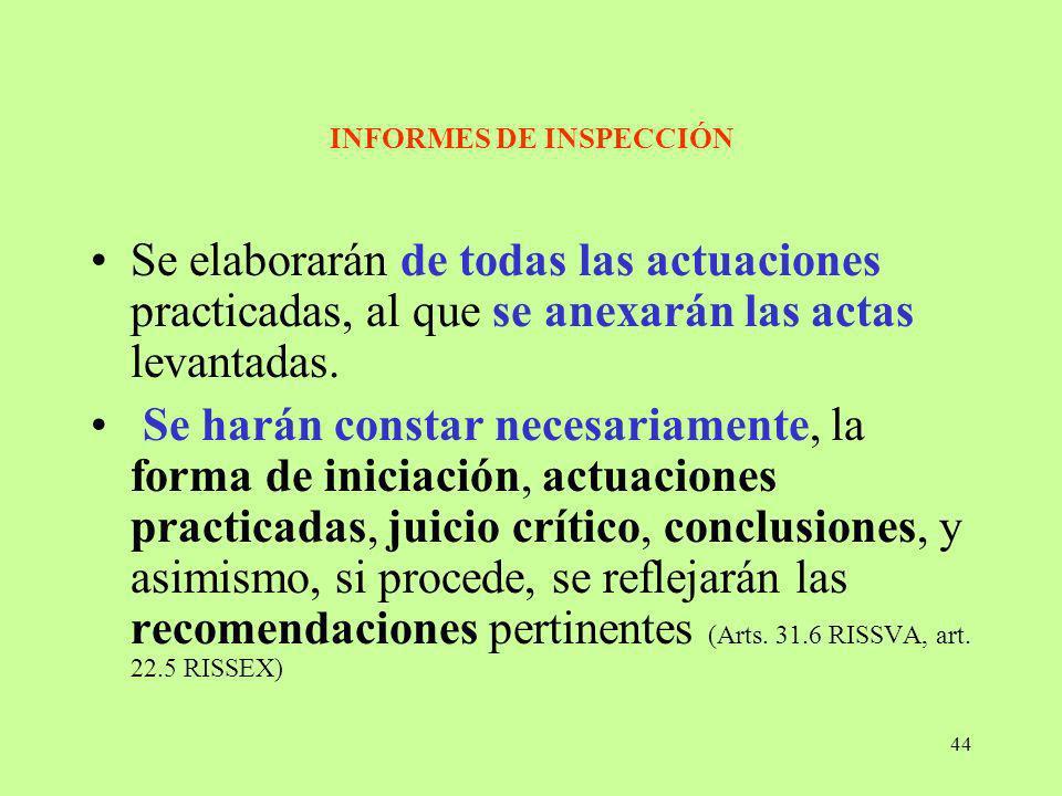 44 INFORMES DE INSPECCIÓN Se elaborarán de todas las actuaciones practicadas, al que se anexarán las actas levantadas. Se harán constar necesariamente