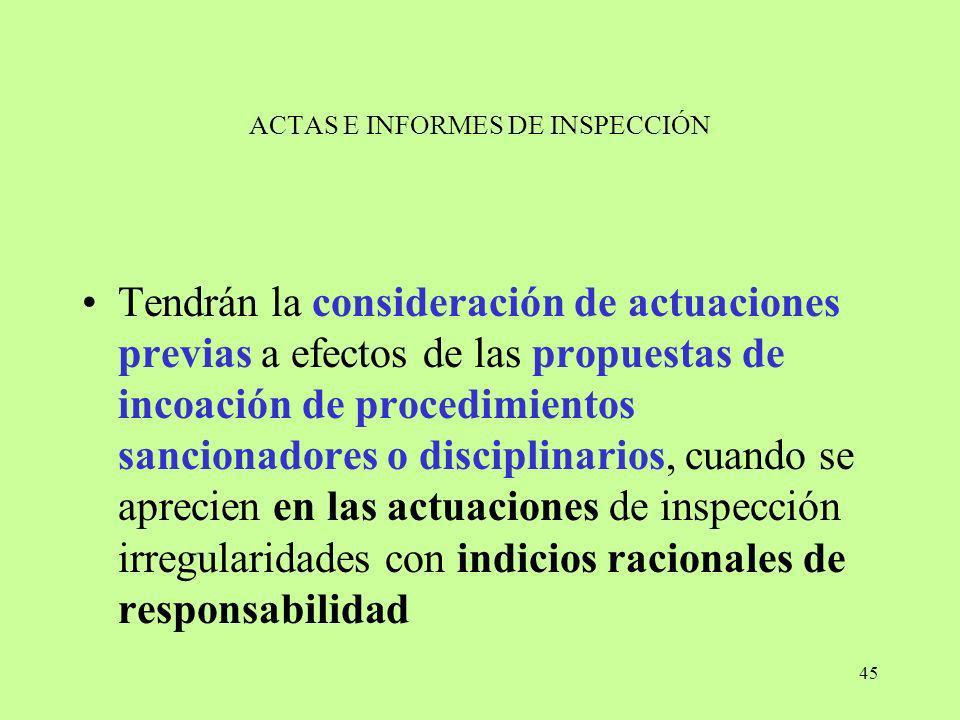 45 ACTAS E INFORMES DE INSPECCIÓN Tendrán la consideración de actuaciones previas a efectos de las propuestas de incoación de procedimientos sancionad
