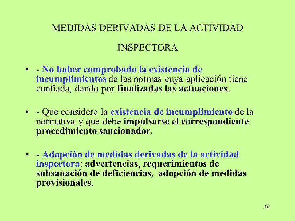 46 MEDIDAS DERIVADAS DE LA ACTIVIDAD INSPECTORA - No haber comprobado la existencia de incumplimientos de las normas cuya aplicación tiene confiada, d