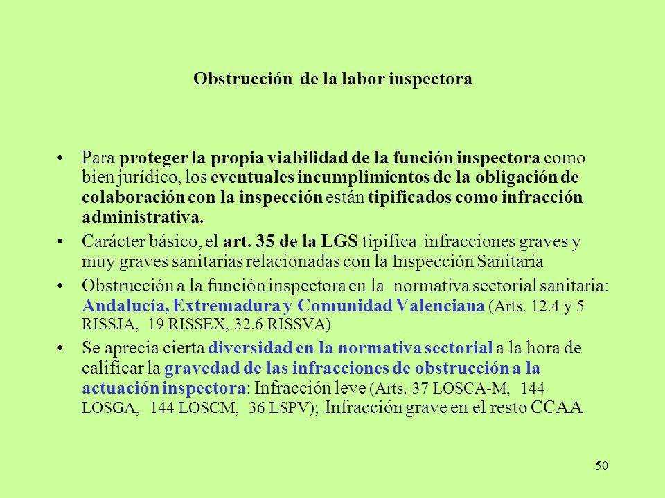 50 Obstrucción de la labor inspectora Para proteger la propia viabilidad de la función inspectora como bien jurídico, los eventuales incumplimientos d