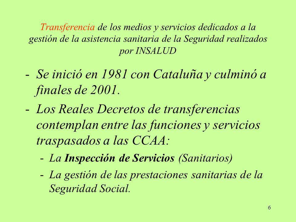 6 Transferencia de los medios y servicios dedicados a la gestión de la asistencia sanitaria de la Seguridad realizados por INSALUD -Se inició en 1981