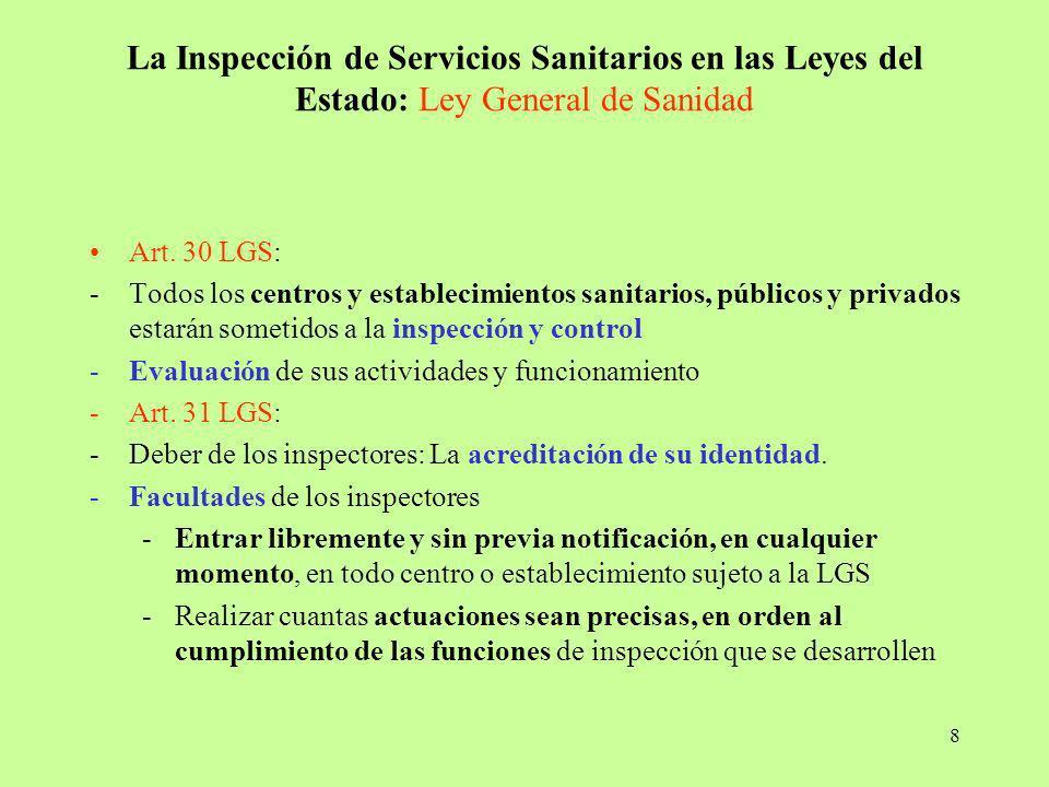 8 La Inspección de Servicios Sanitarios en las Leyes del Estado: Ley General de Sanidad Art. 30 LGS: -Todos los centros y establecimientos sanitarios,