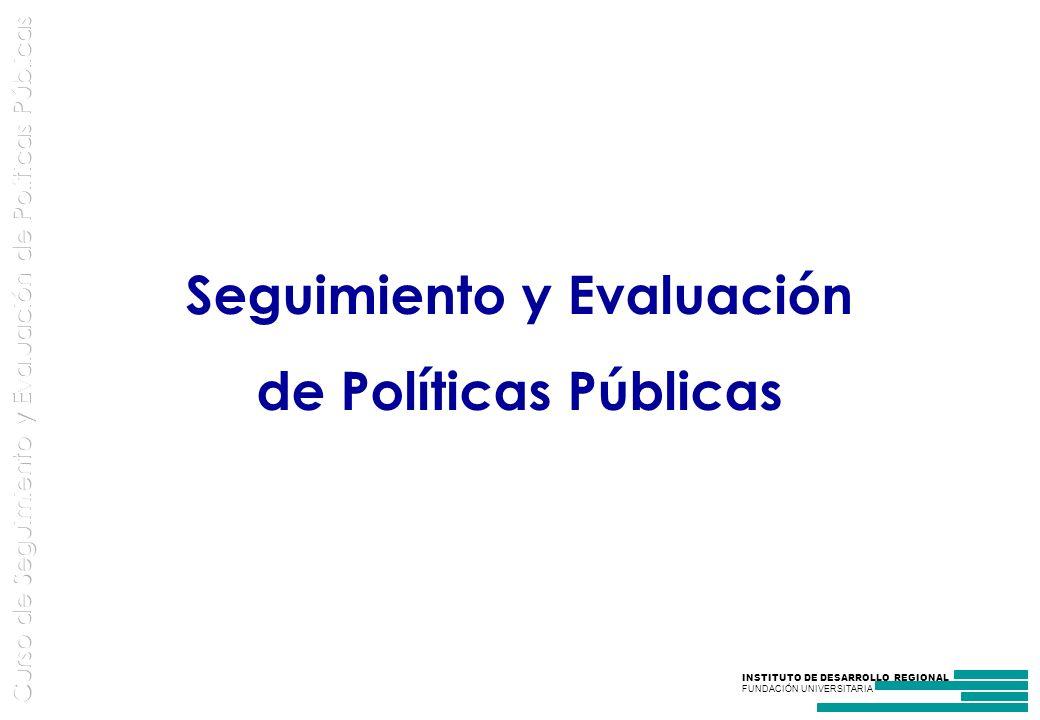 INSTITUTO DE DESARROLLO REGIONAL FUNDACIÓN UNIVERSITARIA Seguimiento y Evaluación de Políticas Públicas