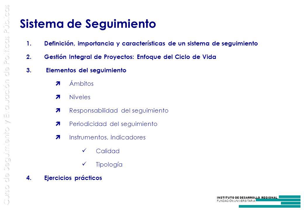 INSTITUTO DE DESARROLLO REGIONAL FUNDACIÓN UNIVERSITARIA 1.Definición, importancia y características de un sistema de seguimiento 2.Gestión Integral de Proyectos: Enfoque del Ciclo de Vida 3.