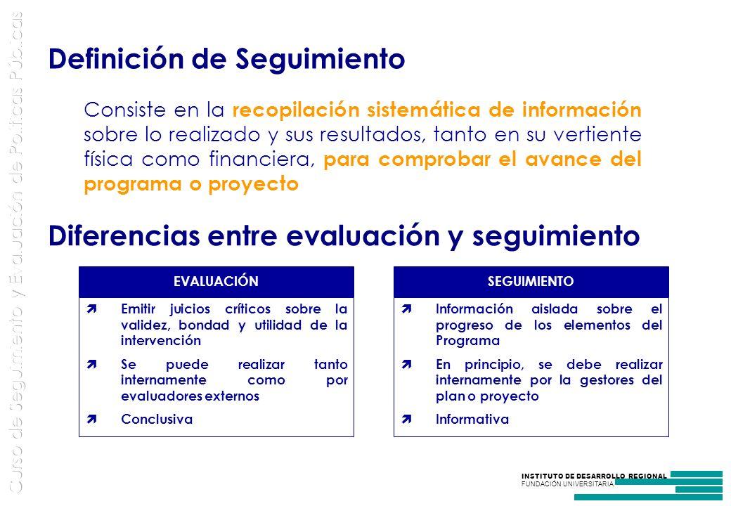 INSTITUTO DE DESARROLLO REGIONAL FUNDACIÓN UNIVERSITARIA Consiste en la recopilación sistemática de información sobre lo realizado y sus resultados, tanto en su vertiente física como financiera, para comprobar el avance del programa o proyecto Definición de Seguimiento Diferencias entre evaluación y seguimiento EVALUACIÓN Emitir juicios críticos sobre la validez, bondad y utilidad de la intervención Se puede realizar tanto internamente como por evaluadores externos Conclusiva SEGUIMIENTO Información aislada sobre el progreso de los elementos del Programa En principio, se debe realizar internamente por la gestores del plan o proyecto Informativa