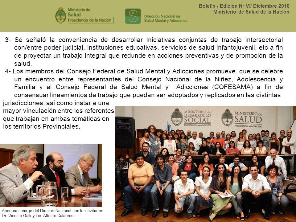 Boletín / Edición Nº VI/ Diciembre 2010 Ministerio de Salud de la Nación 3- Se señaló la conveniencia de desarrollar iniciativas conjuntas de trabajo