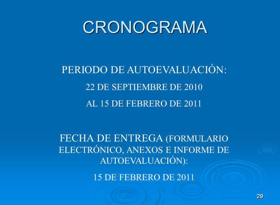 29 CRONOGRAMA PERIODO DE AUTOEVALUACIÓN: 22 DE SEPTIEMBRE DE 2010 AL 15 DE FEBRERO DE 2011 FECHA DE ENTREGA (FORMULARIO ELECTRÓNICO, ANEXOS E INFORME DE AUTOEVALUACIÓN): 15 DE FEBRERO DE 2011