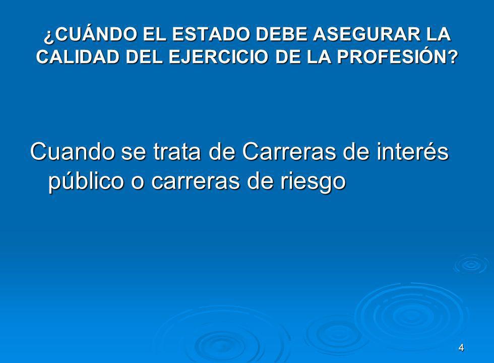 ¿CUÁNDO EL ESTADO DEBE ASEGURAR LA CALIDAD DEL EJERCICIO DE LA PROFESIÓN.