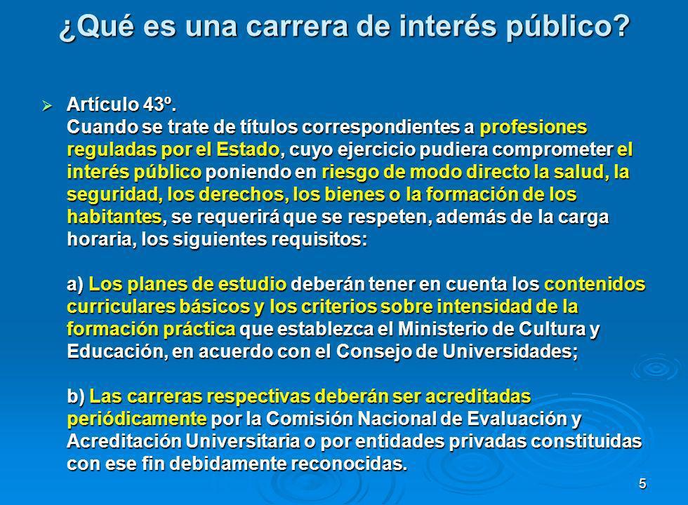 ¿Qué es una carrera de interés público.Artículo 43º.